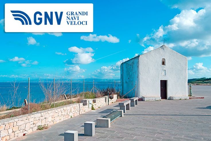 That's a lovely small #church in the #blue #coastline near #PortoTorres, #Sardegna    Discover #GNV routes from/to #Sardinia here: http://www.gnv.it/en/ferries-destinations/porto-torres-ferries-sardinia.html