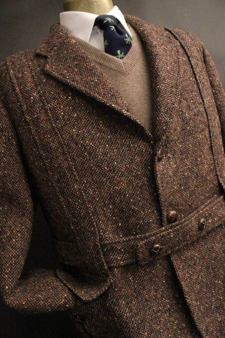 Movie Star Vtg Donegal Tweed Multi Fleck Belted Jacket Heavy Sport Coat 42R | eBay