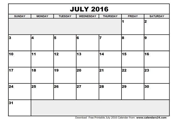 July 2016 Calender blank