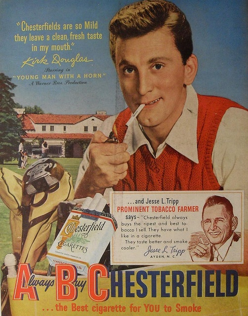 1950 CHESTERFIELD Kirk Douglas 1950s vintage hollywood smoking cigarettes advertisement