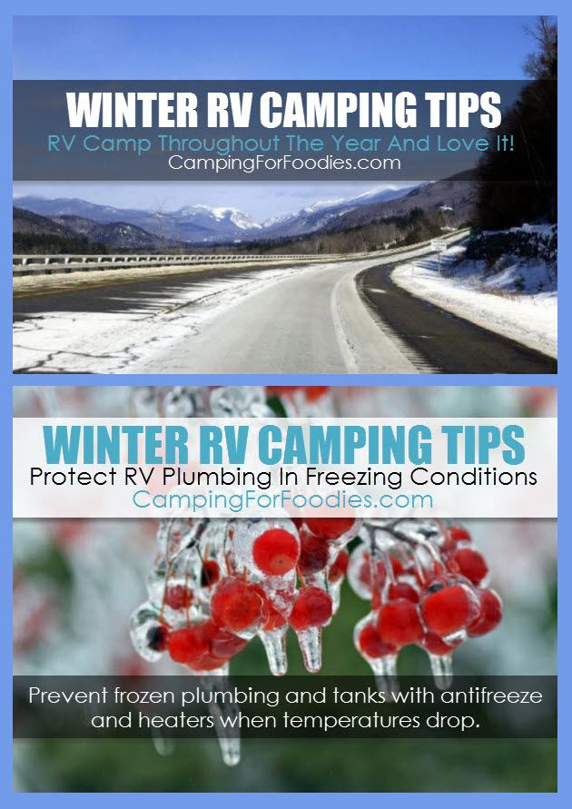 Winter RV Camping Tips Protect RV Plumbing From Freezing. Camp All Year! RV camping is especially challenging when temperatures drop below that dreaded freezing level. Suffering from frozen plumbing is frustrating but can be easily avoided with a few simple preventive measures to keep everything flowing properly. Our Winter RV Camping Tips will help you beat the elements on your short-term winter camping trip! Camping Hacks, Camping Tips, RV Camping, Tent Camping, Brilliant Camping Ideas!