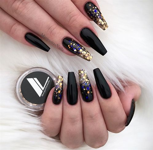 Rose Gold Ombre Black Coffin Nails By Margaritasnailz Ombre Nails Glitter Black Gold Nails Gold Nails