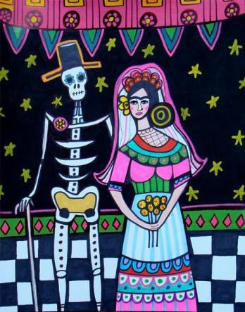 Mexican Folk Art  Frida Kahlo Bride and Groom  by HeatherGallerArt, $24.00
