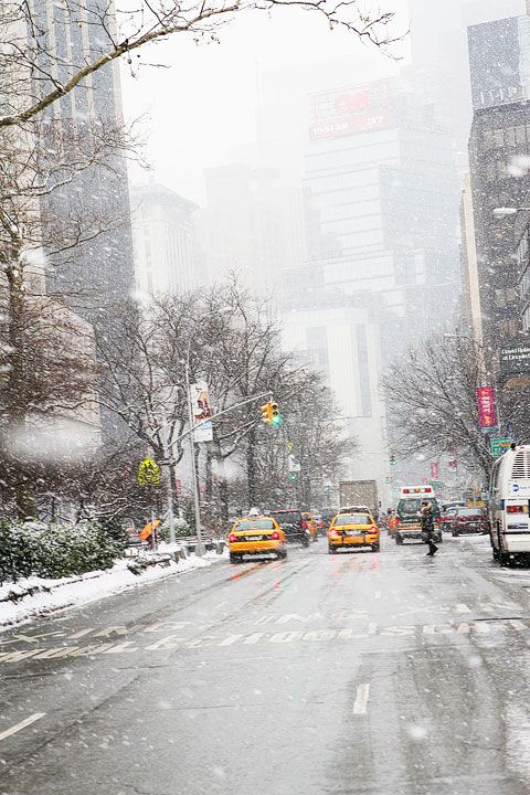 New York City snow falling, winter, yellow cabs- this is what my winter is going to be like this year... weird