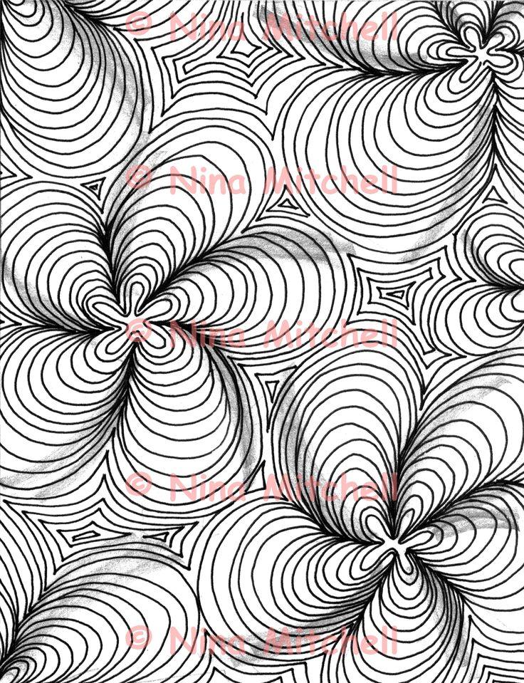 NM - bw - mountain contours zentangle