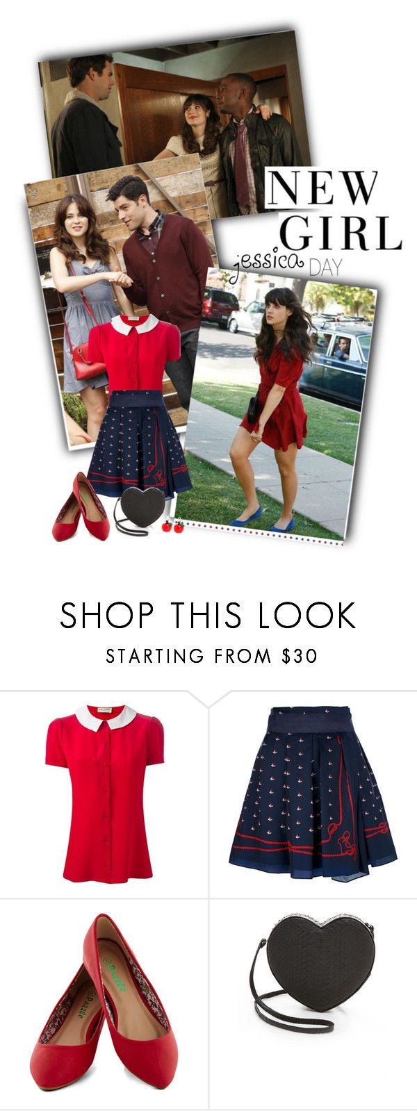 """Jessica Day: New Girl"" by priscilla12 ❤ liked on Polyvore featuring Zooey, Yves Saint Laurent, Sacai, Gelareh Mizrahi, Irregular Choice, Lauren Ralph Lauren, women's clothing, women, female and woman"