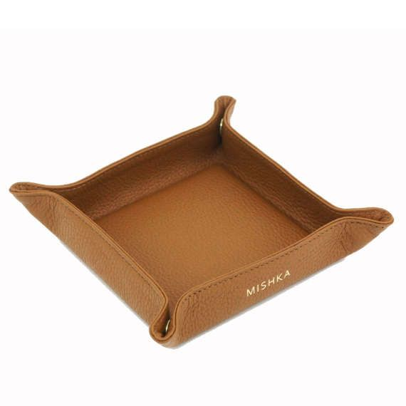 Leather Valet Tray | Catch All  | Travel Tray Set - CAMEL BROWN by MISHKA  #leathertray #valettray #catchall