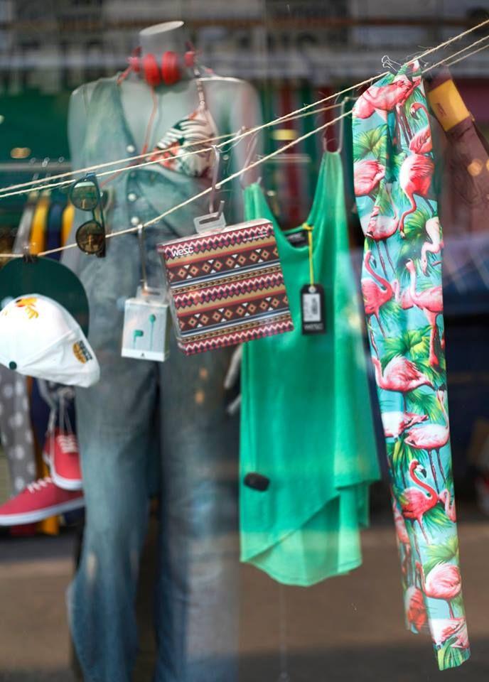pcp flamingo shiny leggings on Prime Timers display window