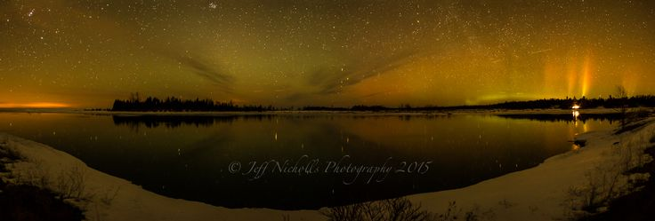 """""""Northern Lights over Chiefs Point, Sauble River, Ontario, Canada""""  March 15 2015 at 10:00pm...panorama 15.0 sec at f/2.8, ISO 1600  A stitched panorama overlooking Chiefs Point at the mouth of the Sauble River looking north over Lake Huron to catch the Aurora Borealis. If you like this photo, feel free to repost and share, thank you!  We have a 20% off """"Spring Special"""" on your or our canvas prints, check us out! #saublebeach #auroraborealis #northernlights #lakehuron"""