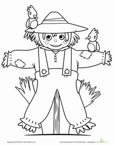 Scarecrow Coloring Page Worksheet - could use as an embroidery pattern and make a pillow.