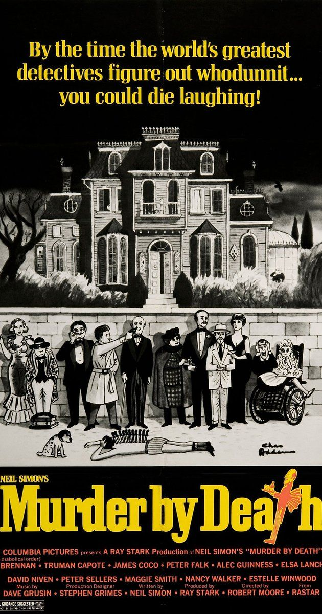 Directed by Robert Moore.  With Peter Falk, Alec Guinness, Peter Sellers, Eileen Brennan. Five famous literary detective characters and their sidekicks are invited to a bizarre mansion to solve an even stranger mystery.