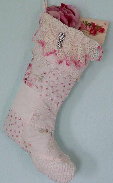 Looking like a pink Christmas stocking; beautiful handiwork