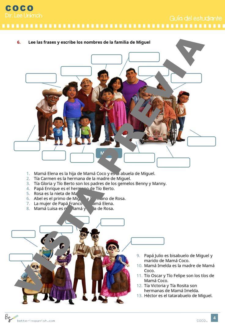 Actividades pedagógicas sobre la película COCO. Clase de