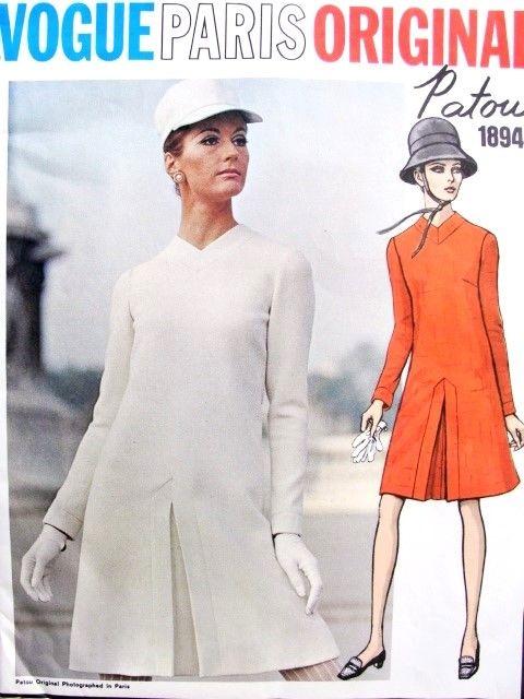 1960s Mod Patou Dress Pattern Vogue Paris Original 1894 Inverted Front Pleat V Neckline Button Back Dress Bust 34 Vintage Sewing Pattern FACTORY FOLDED