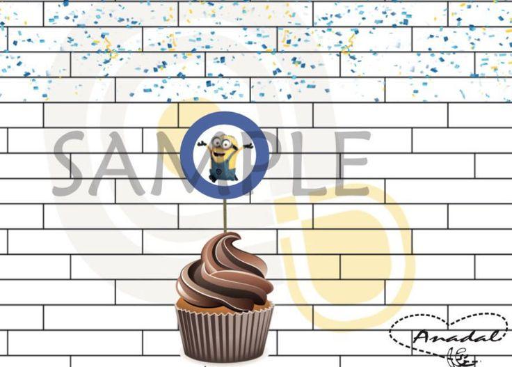Minions cupcakes toppers happy birthday de ArteAnadal en Etsy