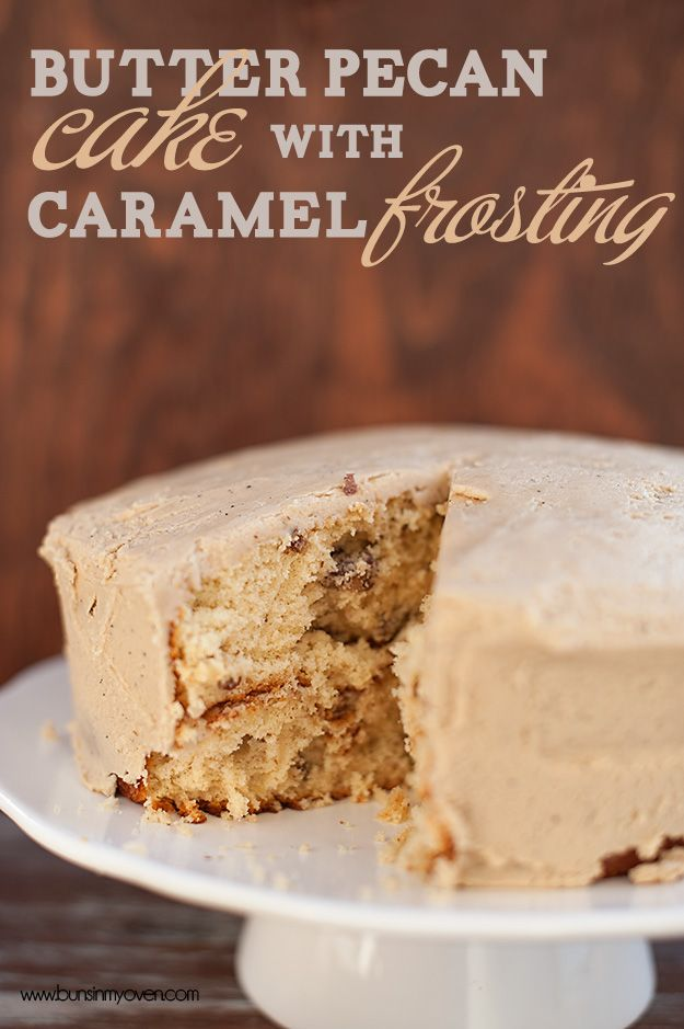 butter pecan cake with caramel frosting recipe @Karly Campbell