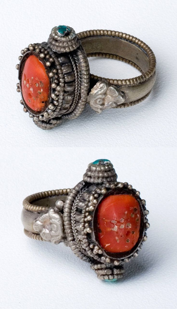 Tibet Ring Silver With Coral And Turquoise Ca 19th