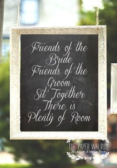 Chalkboard Seating Sign - Pick a Seat Not a Side - Wedding - 8 x 10 Print, $14.99