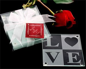 LOVE Glass Coaster Gift Set With Ribbon And Thank You Tag At WeddingFavors Org
