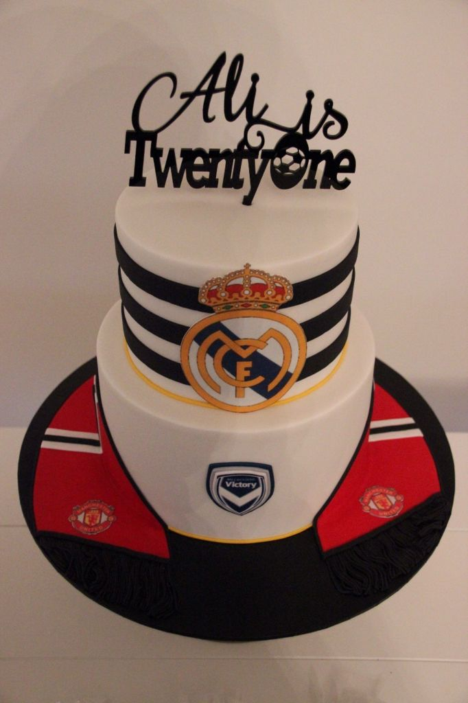 Soccer themed 21st Birthday cake, Real Madrid, Manchester United and Melbourne Victory  #MVFC #MUFC #RealMadridCF #MelbourneVictory #ManchesterUnitedFC #TwentyFirstBirthday #Soccer #Football