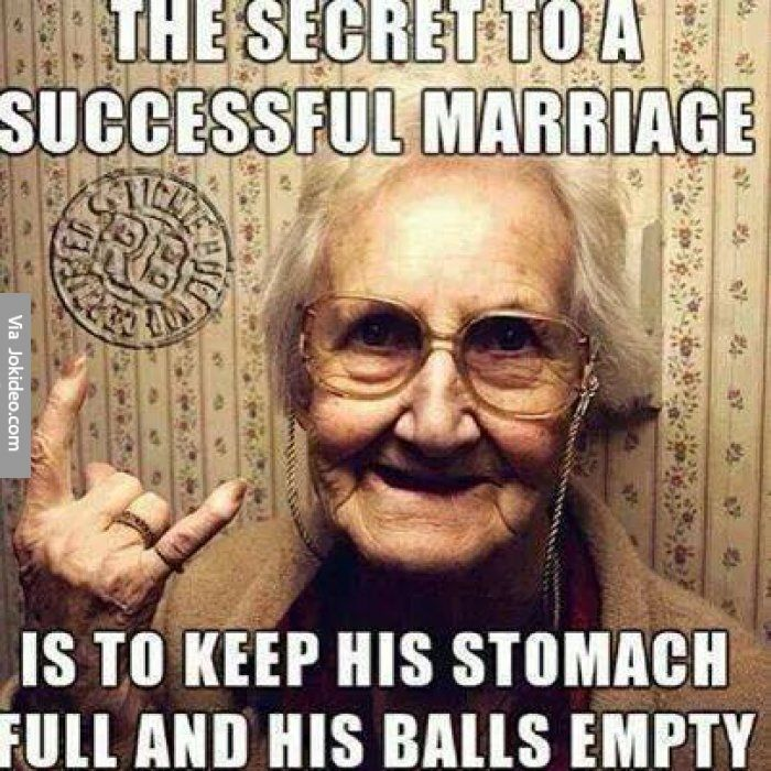 Secret to a successful marriage - adult meme - http://www.jokideo.com/