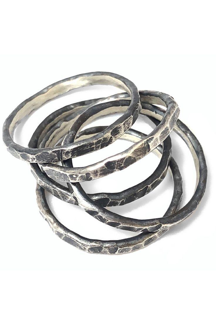 Set of Five Handcrafted Artisan Hammered Oxidized over 925 Sterling Silver Stacking Set Wedding Band Stackable Designer Rings Blackened