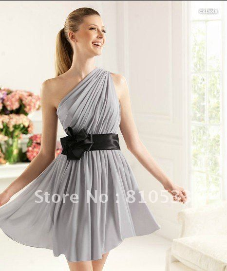 Pretty Lovely 2013 New A-line One Shoulder Mini Chiffon Light Grey Bridesmaid Dress on AliExpress.com. 10% off $73.80