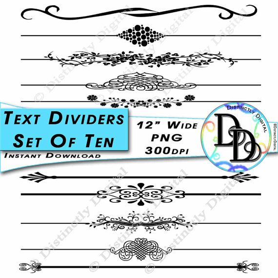 10 Black Printable Text Dividers Digital Scrapbook Clipart Cards Wedding Invitation Graphics Commercial Use Clip Art Instant Download by DistinctlyDigital on Etsy
