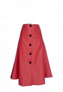 Falda midi vuelo roja piel ecológica y estilo doble lápiz