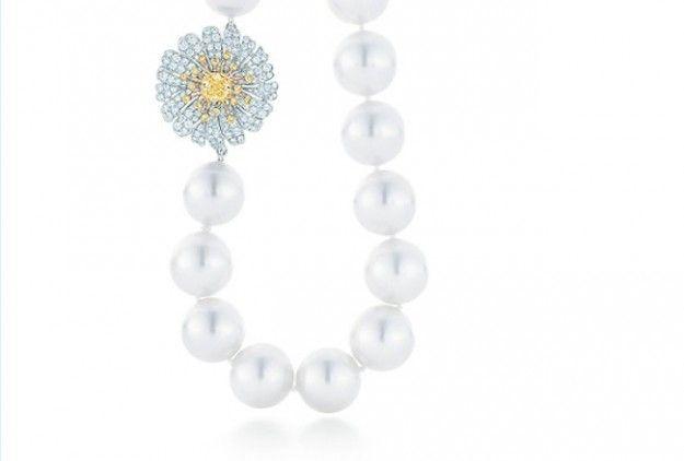 Collana Tiffany margherita di perle Collana di perle con diamanti gialli e bianchi, in oro 18 ct e platino