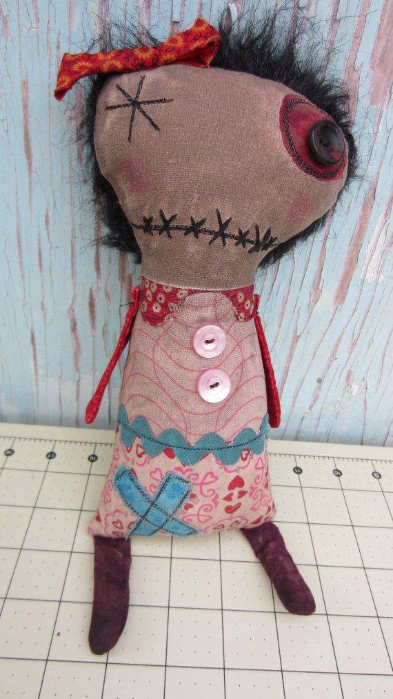 Lovely Lucy Handmade Art Doll by SewZany on Etsy, $38.00.     (KO) Love this! Quirky and  sweet.