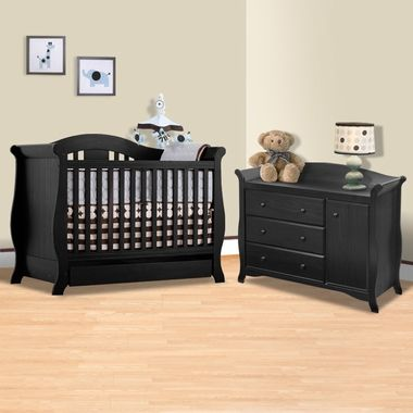 Storkcraft 2 Piece Nursery Set   Vittoria 3 In 1 Convertible Crib And Aspen  Changing Table With Drawer In Black