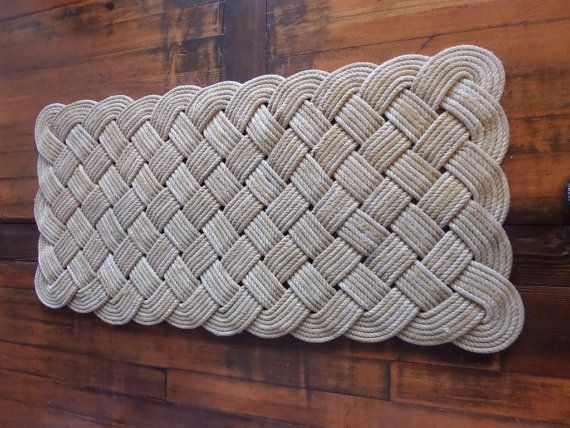 Large Soft Hall Runner Natural Rope Recycled Fishing Line 48 X 24 Rug Nautical