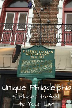 Think you have seen everything in Philadelphia? Check out these 5 unique places, including a haunted prison and the oldest Italian restaurant in the US.