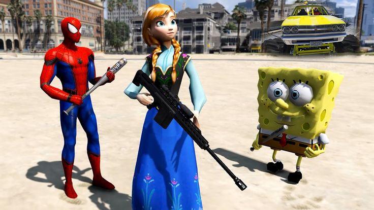 Spiderman Cars Cartoon for Kids & Anna, SpongeBob + Monster Truck Fun