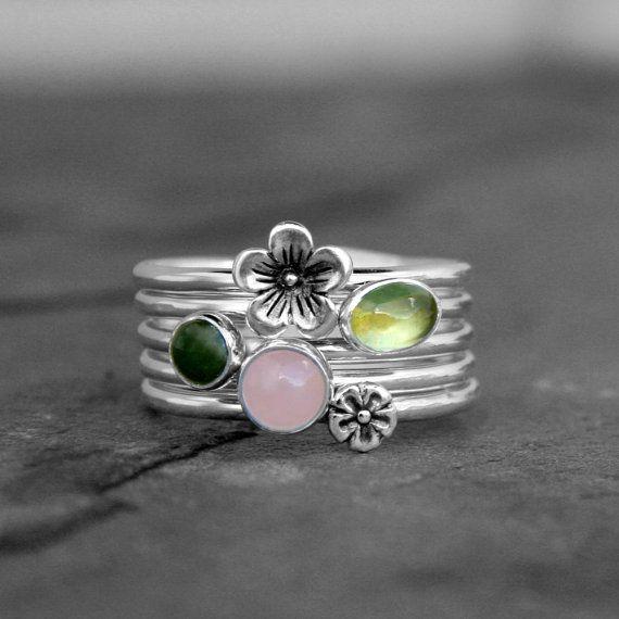 Cherry Blossom Stacking Rings Sterling Silver Set of 5 Rings, Botanical Flower Blush Rose Quartz Gemstone Green Jade Peridot Stack Stackable