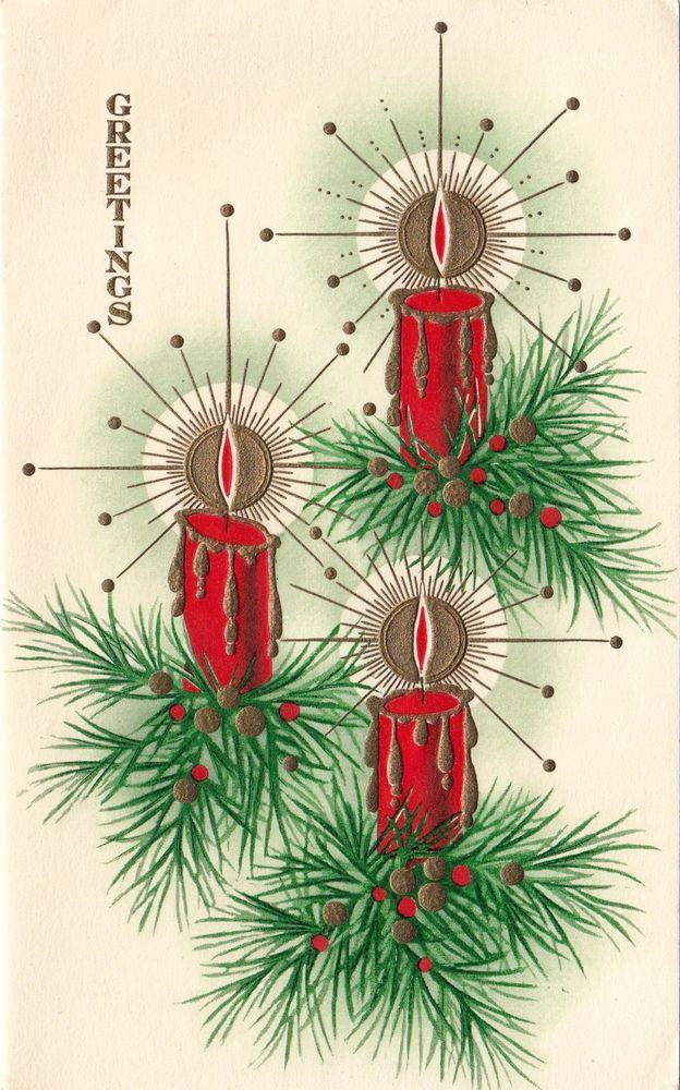 Vintage Greeting Card Christmas Candles