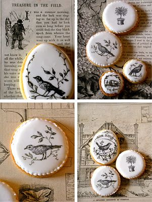 """Great idea for decorating cookies! """"These are just brilliant. Simple & elegant: Rubber stamped cookies using food colouring & then hand finished with edible ink pens"""""""