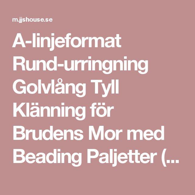 A-linjeformat Rund-urringning Golvlång Tyll Klänning för Brudens Mor med Beading Paljetter (008085294) - JJsHouse