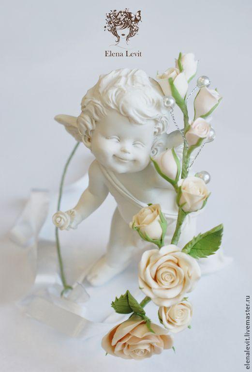 Купить Веночек на голову с розами - кремовый, венок из цветов, венок на голову, венок с цветами