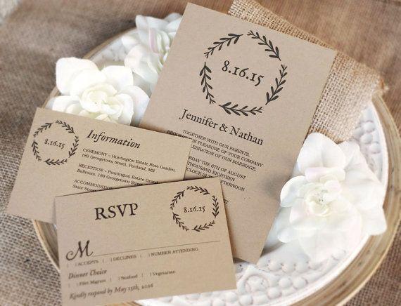 Printable Wedding Invitation Template, DIY Wedding Invitations, Instant  DOWNLOAD   Editable Text   Woodland
