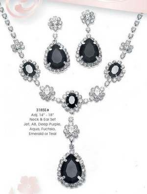 Black Rhinestone Jewelry for Wedding