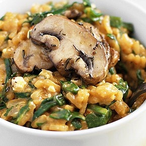 Mushroom, Spinach & Feta Risotto. Three of my Favorite things! - Yummy and very creamy!