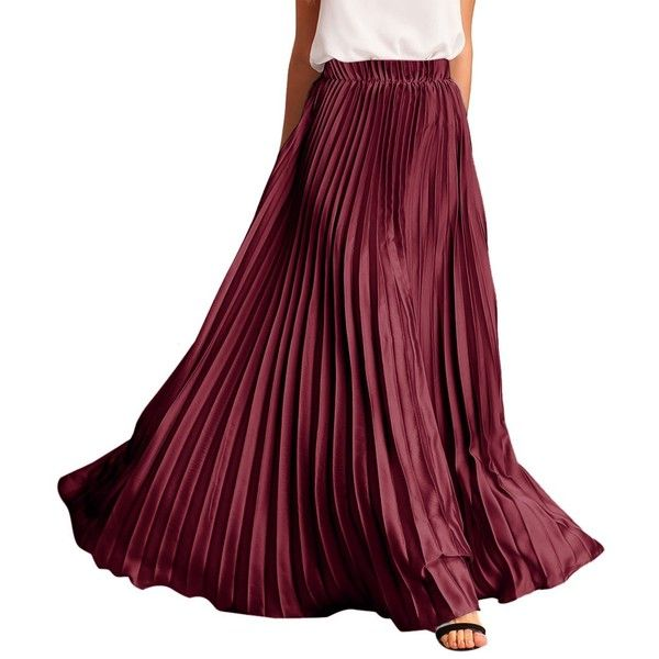 ROMWE Women's Retro Vintage Summer Chiffon Pleat Maxi Long Skirt ($28) ❤ liked on Polyvore featuring skirts, vintage maxi skirt, long chiffon skirt, pleated maxi skirt, long purple skirt and long pleated maxi skirt