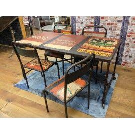 Vintage industrial design dining table