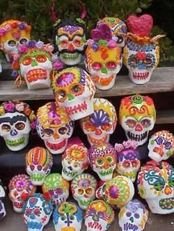 Sugar skulls are found everywhere on this special holiday. They decorate homes and even altars of the loved ones. Some of the sugar skulls that are on the altars have the names of the loved ones written on them. http://mexicanfood.about.com/od/sweetsanddesserts/ss/candyskullhowto.htm