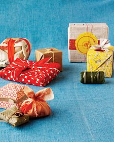 Trade the usual wrapping paper for an old rice sack, scraps from a crafting project, or some outdated atlas pages.