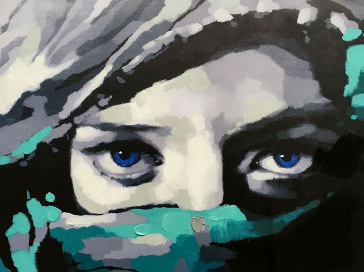 Occhi blu   Misure: 60x80  Hand painted prints