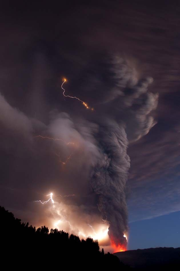 volcanic eruption mixed with a tornado lightning storm #volcanic eruption mixed with a #tornado #lightning storm