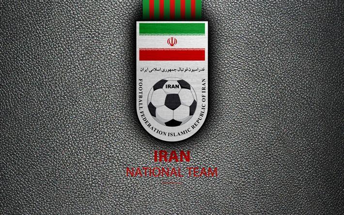 Download wallpapers Iran football national team, 4K, leather texture, Iran Football Federation, emblem, logo, Asia, football, Iran